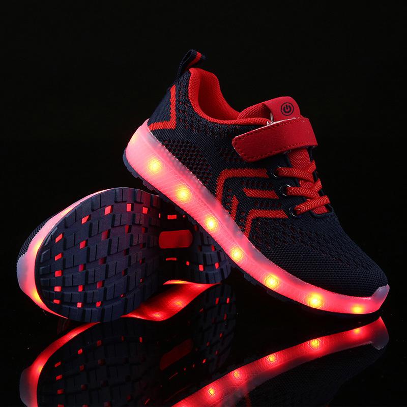 Small Quantity Kids LED Light mesh upper Casual Children Light Up Led Kid Shoes
