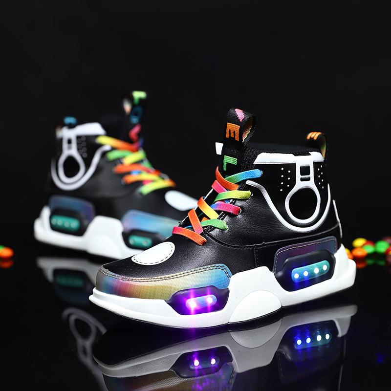 2021  Newest transparent factory direct children  shoes casual active Led light kids shoes