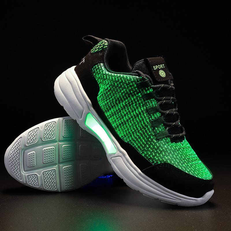 2020 NEW designs optical fiber luminous  standard men led shoes men led running sneaker light shoes